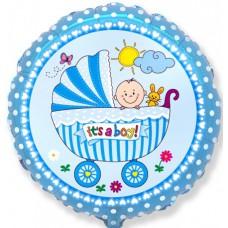 Шар (18''/46 см) Круг, Детская коляска для мальчика, Голубой, 5 шт., арт. 401578