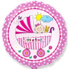 """Шар с гелием в форме круга с рисунком Детская коляска для девочки, Розовый,  18""""(46 см)"""