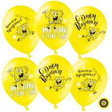 Воздушный Шар (12''/30 см) Губка Боб, С Днем Рождения! Желтый, пастель. 2 ст, 50 шт. (501008)