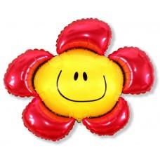 Фольгированный шар (41''/104 см) Фигура, Солнечная улыбка, Красный, 1 шт.