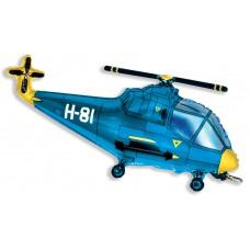 Воздушный шар с гелием (38''/97 см) Вертолет Синий 1 шт. (901667A)