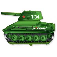 Фольгированный шар (31''/79 см) Фигура, Танк T-34, Зеленый, 1 шт.