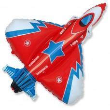 Воздушный шар с гелием (39''/99 см) Самолет истребитель. Красный 1 шт. (901692R)