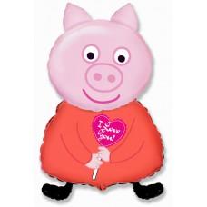 Фольгированный шар (32''/81 см) Фигура, Поросенок с сердцем, Розовый, 1 шт., арт. 901713