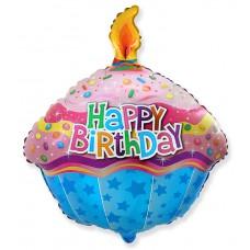 Фольгированный шар (23''/58 см) Фигура, Кекс со свечкой, 1 шт.., арт. 901736