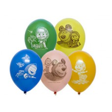 Воздушный шар (14''/36 см) Маша и Медведь 50 шт.