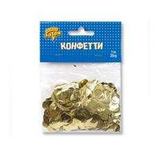 Конфетти Круги фольгированные. Золото 1 см. (20 гр.) 1501-4099