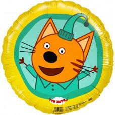 Фольгированный шар (18''/46 см) Круг. Три Кота Компот. Желтый. 1 шт. (401017)