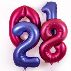 """Шары -  цифры с гелием. Синий и Бордовый сатин, Радужный градиент.  34"""" (86 см)"""