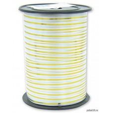 Лента для завязывания шаров с золотой полосой белая металлизированная, на бобине. 5ммХ230м (1302-0092)