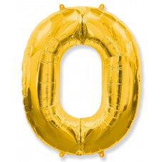 """Шар - Цифра """"0"""" , цвет золото / Zero, 40"""", арт. 901760O"""