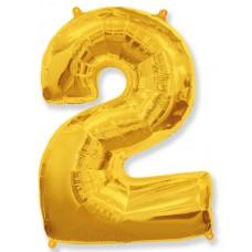 """Шар - Цифра """"2"""" , цвет золото / Two, 40"""""""