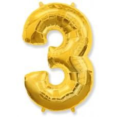 """Шар - Цифра """"3"""" , цвет золото / Three, 40"""", арт. 901763O"""
