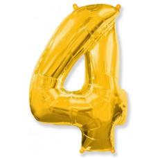 """Шар - Цифра """"4"""" , цвет золото / Four, 40"""", арт. 901764O"""