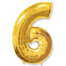 """Шар - Цифра """"6"""" , цвет золото / Six, 40"""""""