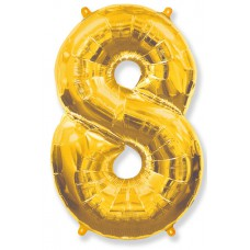 "Шар - Цифра ""8"" , цвет золото / Eight, 40"", арт. 901768O"