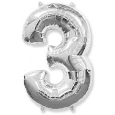 """Шар - Цифра """"3"""" , цвет серебро / Three, 40"""""""