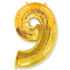 """Шар - Цифра """"9"""" , цвет золото / Nine, 40"""""""