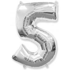 """Шар - Цифра """"5"""" , цвет серебро / Five, 40"""", арт. 901765P"""