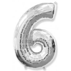 """Шар - Цифра """"6"""" , цвет серебро / Six, 40"""""""