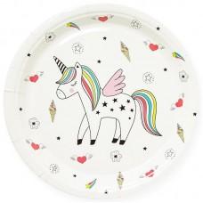 Тарелки (9''/23 см) Радужный Единорог, Белый 6225080