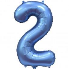 "Шар - Цифра ""2"" / Two цвет синий, сатин (34""/ 86 см) 131052"