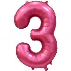 """Шар - Цифра """"3"""" / Three цвет бордовый, сатин (34""""/ 86 см) 131063"""