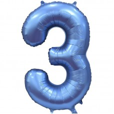 "Шар - Цифра ""3"" / Three цвет синий, сатин (34""/ 86 см) 131053"