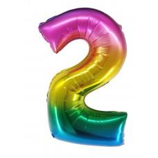 "Шар - Цифра ""2"" / Two цвет радужный, градиент (34""/ 86 см) R4172"