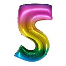 "Шар - Цифра ""5"" / Five цвет радужный, градиент (34""/ 86 см) R4175"