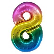 "Шар - Цифра ""8"" / Eight цвет радужный, градиент (34""/ 86 см) R4178"