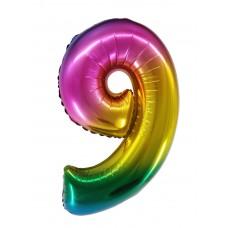 "Шар - Цифра ""9"" / Nine цвет радужный, градиент (34""/ 86 см) R4179"