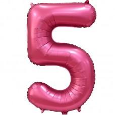 "Шар - Цифра ""5"" / Five цвет бордовый, сатин (34""/ 86 см) 131065"