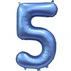 "Шар - Цифра ""5"" / Five цвет синий, сатин (34""/ 86 см) 131055"