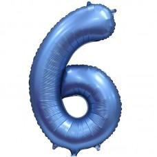 """Шар - Цифра """"6"""" / Six цвет синий, сатин (34""""/ 86 см) 131056"""