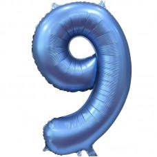 "Шар - Цифра ""9"" / Nine цвет синий, сатин (34""/ 86 см) 131059"