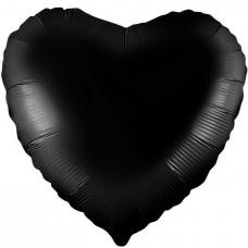 Шар  Сердце Черный (19''/48 см) 750872