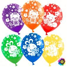 Воздушный шар с гелием Зверята и подарки, Ассорти, пастель, 1 шт. (12''/30 см) 711239