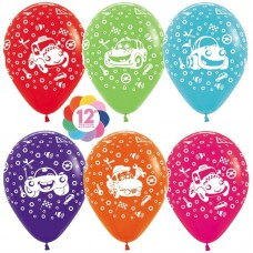 Шар Воздушный шар Тачки, Ассорти, пастель, 5 ст, 50 шт.  (12''/30 см)  107646
