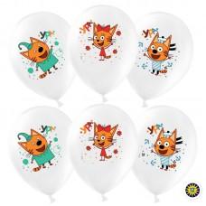 """Воздушный шар с гелием. Рисунок """"Три Кота"""", Белый (200), пастель, (12''/30 см)"""